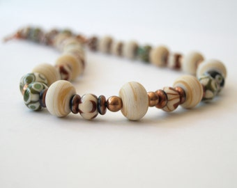 Copper Green Brown Necklace,  Artisan Lampwork, Cream GlassNecklace, Beaded Necklace