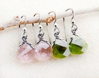 Swarovski Crystal Earrings, Non-allergenic Niobium Earwires, Rose Pink or Olivine Green, Silver, Hypoallergenic Handmade Earrings Jewelry