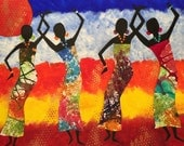 Colour us Happy - ooak - 19.5 x 15.5ins (50 x 40cms) Dancing in the colour of life.