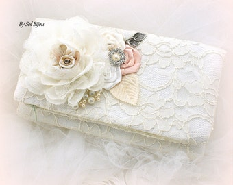 Wedding Clutch, Blush, Ivory, Handbag, Wedding Purse, Wedding Reception, Lace Clutch, Elegant Wedding, Maid of Honor, Pearls, Vintage Style