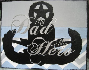 Original EOD My Dad My Hero boys room art with Master EOD Badge -blue and gray EOD nursery art