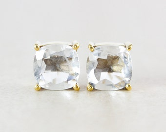 Gold Crystal Quartz Studs - Cushion
