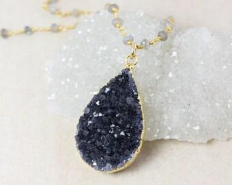 Black Druzy Teardrop Necklace – Gemstone Chain – Choose Your Stone