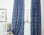 "blue curtains navy window bohemian nautical home decor housewares block print home living - ONE panel - GREECE indigo 57""w x 84""L"