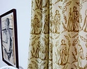 """Toile Window curtains gold cotton window curtain window treatment drapes - ONE panel 44""""w x 84""""L Block Printed in natural dyes 50% OFF"""