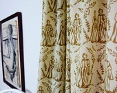 """Window curtain TOILE dirty gold, panel, window treatment, drapes - ONE panel 44""""w x 84"""" / 108"""" L Hand Block Printed in natural dyes"""