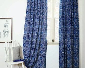"Indigo curtains Blue curtains window boho bedroom home decor housewares block print home living ichcha ONE panel - GREECE indigo 57""w x 84""L"