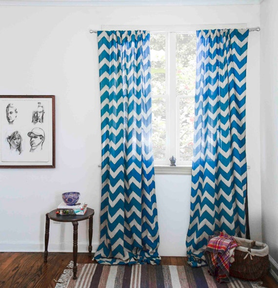 "Teal chevron window curtain, zig zag, - 44"" x 108"" HAND block printed ..."