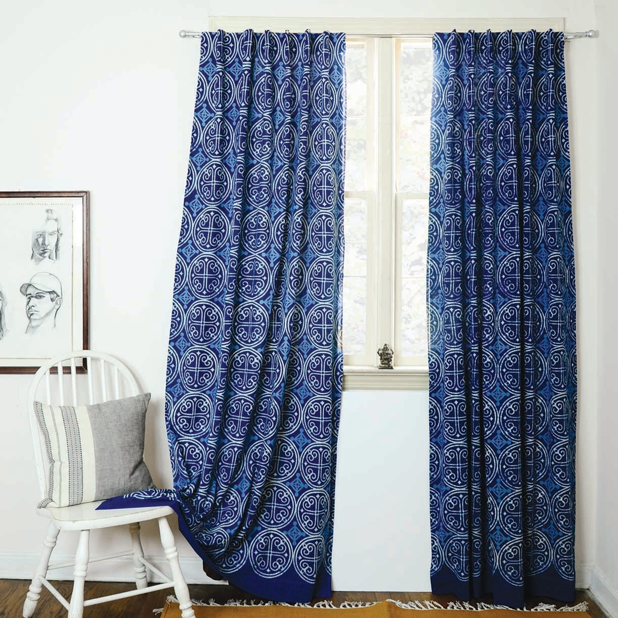light blue patterned curtains the