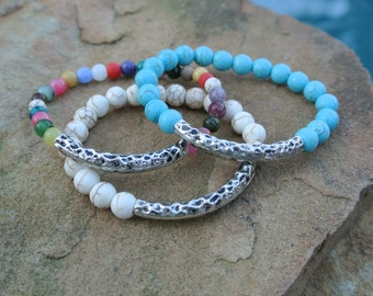 Pampas Howlite Gemstone, Hammered Artisan Hill Tribe Silver Bracelet Bangle