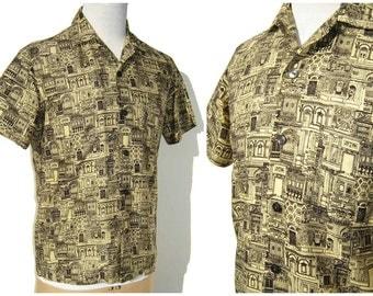 Vintage 50s Jantzen Shirt Mens Urban Scape Cotton Novelty Print M
