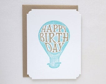 Letterpress Birthday Card - Happy Birthday Hot Air Balloon Deluxe Greeting