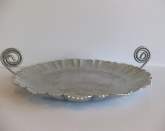"Vintage serving tray,  Aluminum Tray, Ornate, Elite, Engraved, 17"" tray"