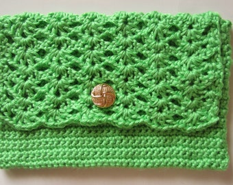 Crocheted Clutch Purse, Lime Green, With Button