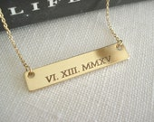 Personalized nameplate Bar Necklace...Engraved name, initial, nickname, Roman numeral, bridesmaid gift, sorority gift