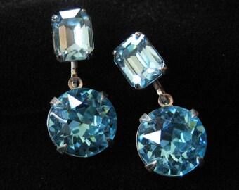 Aqua Rhinestone Earrings, Screw Backs