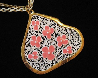 White Enamel Abstract Filigree Mod Pendant Necklace with Pink Flowers