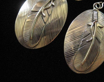Sterling Silver Feather Earrings, Native American