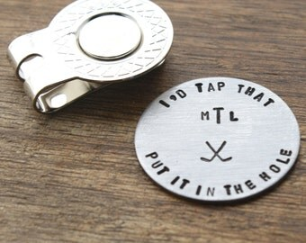 Id Tap That Golf Ball Marker, Personalized Monogram Gift, Personalized Golf Marker, Custom Golf Ball Marker, Hand stamped Golf Ball Marker