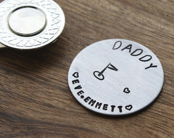 Daddy Golf Ball Marker Personalized Dad Gift Personalized Golf Marker Custom Golf Ball Marker Hand stamped Golf Gift Idea Dad Golf Marker