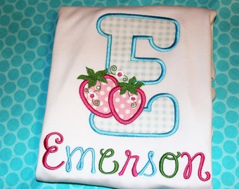 Strawberries initial- birthday tshirt, or ruffle dress