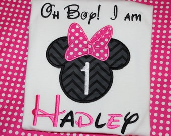 Minnie Mouse 1st birthday shirt - baby bodysuit, tshirt, or dress- you pick fabric