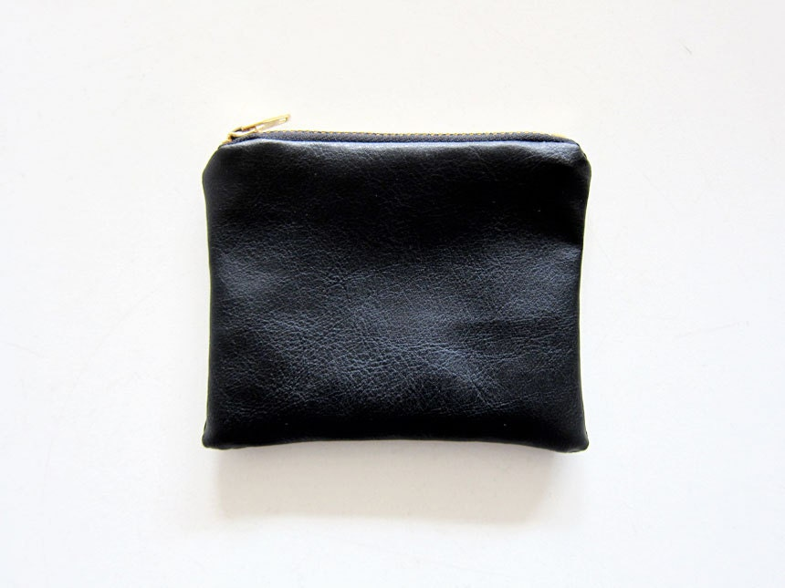Faux leather zipper coin purse small simple by heydayhandmade