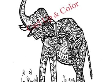 Adult Coloring Page - Elephant Baby - Instant Download - Zentangle - Doodle Illustration - DailyDoodler - Elephant Unique Art Drawing