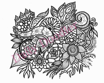 Adult Coloring Page - Floral Splash - Instant Download - Zentangle - Flower - Doodle Illustration - DailyDoodler - Unique Flower Art Drawing