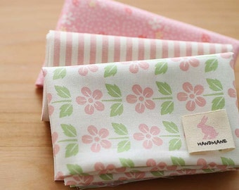 Pure Pink Floral on Cotton FAT Eighth set of 3, U249