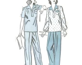 1940s Womens Pajama Pattern Advance 3091 B34 sz 16