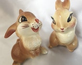 Vintage 1940s American Pottery Disney Thumper rabbit and his girlfriend figurines