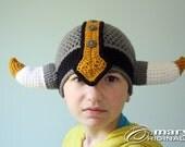 Viking Hat, Viking Helmet, Crochet Beanie, Crochet Viking Costume, Halloween Costume, Boy's Girl's Clothing, Men, Women, Horn Helmet