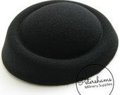 Faux Wool Vintage Style Percher Fascinator Hat Base - Black