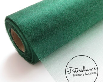 29cm (11.4 Inch) Wide Shimmer Organza Fabric for Millinery & Crafts 1 Yard - Bottle Green