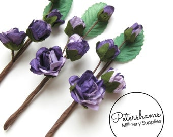 3 Stems Wired Miniature Paper Flowers and Leaves Picks - Lilac & Purple
