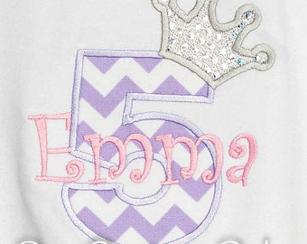 5th Birthday Shirt, Princess Birthday Shirt, Pink and Purple, Completely Custom, Personalized Birthday Shirt, Princess Crown Number, Gift