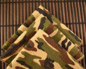 Large Flankie - Green and Brown Camo Flannel Handkerchiefs - Set of 3