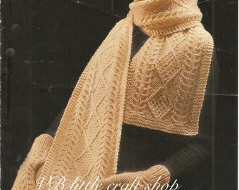 Aran hat, mitts and scarf knitting pattern. Instant PDF download!