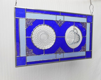 Depression Glass Stained Glass Panel, Vintage 1930s Blue Bubble Cup and Saucer Valance, Old Window, OOAK, Stained Glass Transom Window