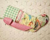 ON SALE - Goldfinches, Morning Glories and Butterflies Stocking with Gingham Vintage Chenille Cuff and Big Bow