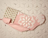 Elegant Pink Flowers Cabin Crafts and Fieldcrest Vintage Chenille Stocking with Big Bow