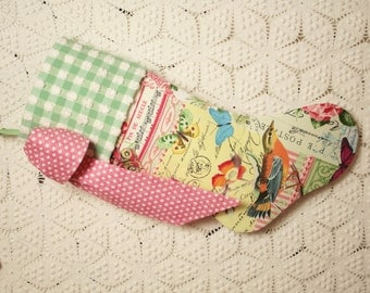 Goldfinches, Morning Glories and Butterflies Stocking with Gingham Vintage Chenille Cuff and Big Bow