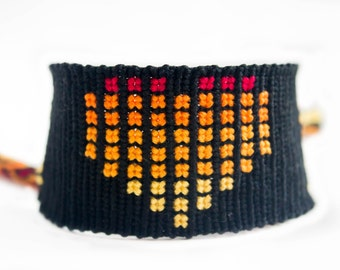 Black and Flame Pixelated Heart Friendship Bracelet - Short Handmade Bracelet