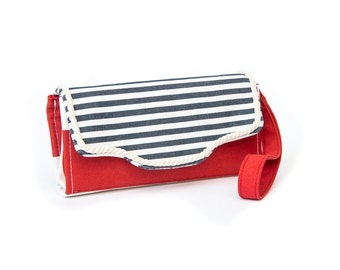 Accordion Wallet Nautical, Cotton canvas, 12 cards slots, Blue and red stripes, Strap left or right,cross-body strap on request