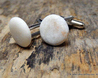 FOR HIM cufflink - MERMAID - Organic white sea pebble cufflinks for him or her with Genuine Natural Amalfi Sea Glass /nr67
