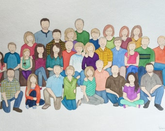 Custom family portrait, up to 30 people
