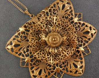 Vintage Folded Filigree Flower Necklace Large