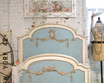 French Bed Painted Cottage Shabby Chic Romantic Full / Twin Bed SSBD25