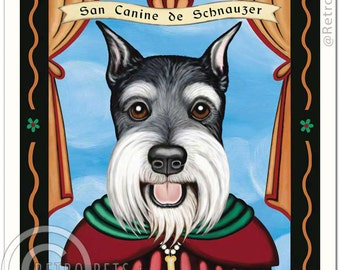 8x10 Schnauzer Art - Patron Saint of Tenacity - Art print by Krista Brooks